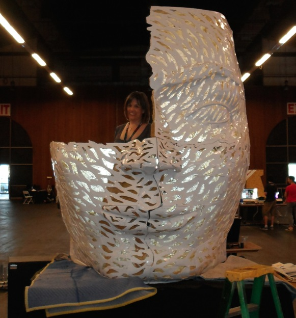 Assembling the Giant Head at Maker Faire 2014